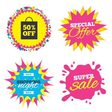 Sale splash banner, special offer star. 50% sale bag tag sign icon. Discount symbol. Special offer label. Shopping night star label. Vector clip art vector