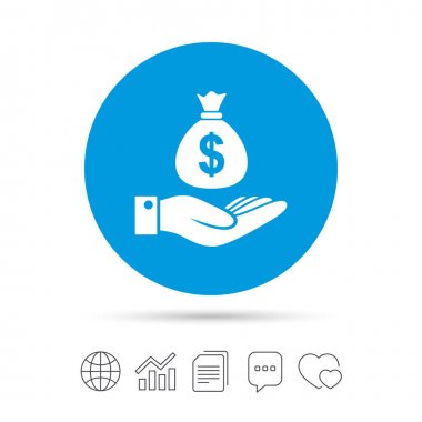 Dollar and hand sign. Palm holds money bag.