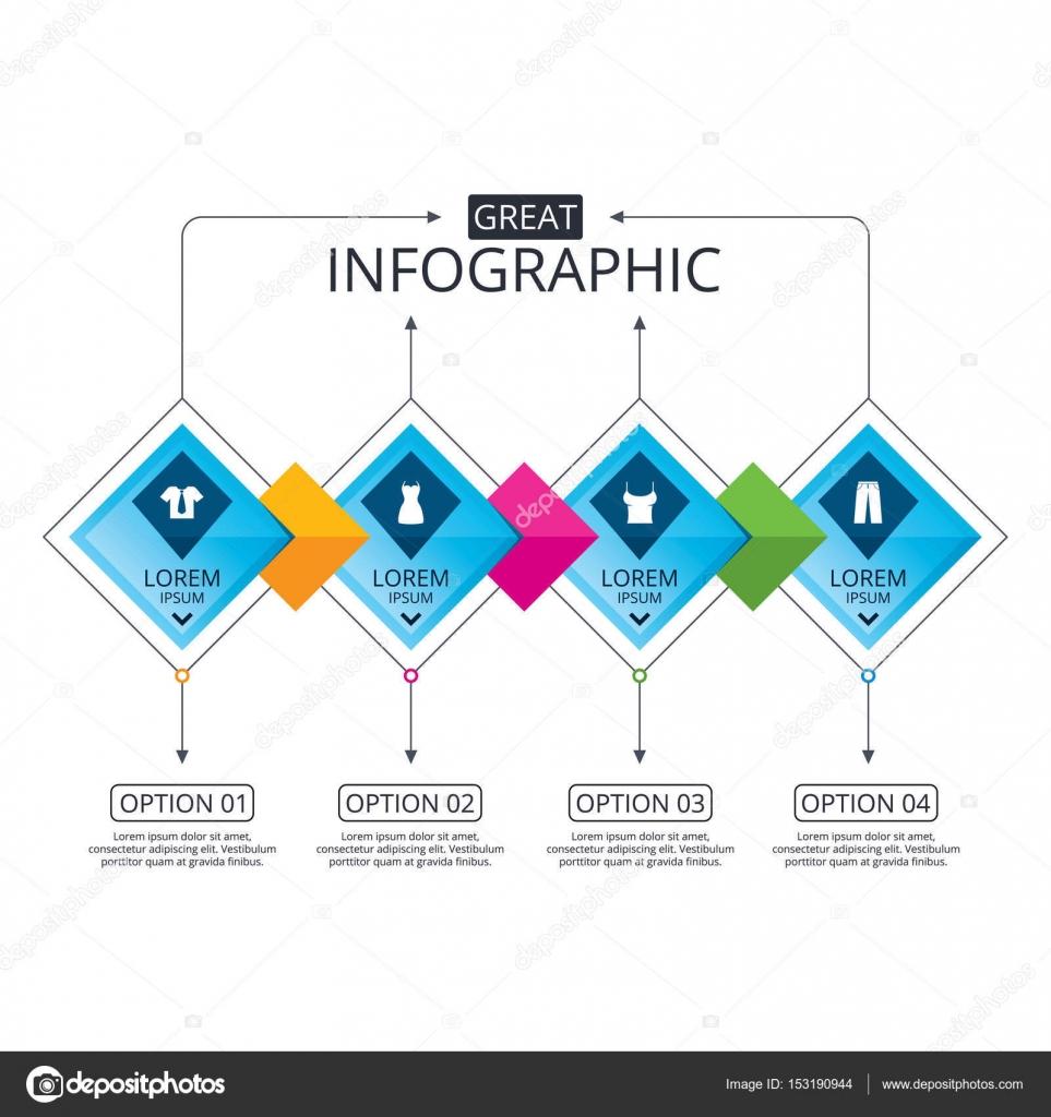 Plantilla de diagrama de flujo de infografía — Archivo Imágenes ...