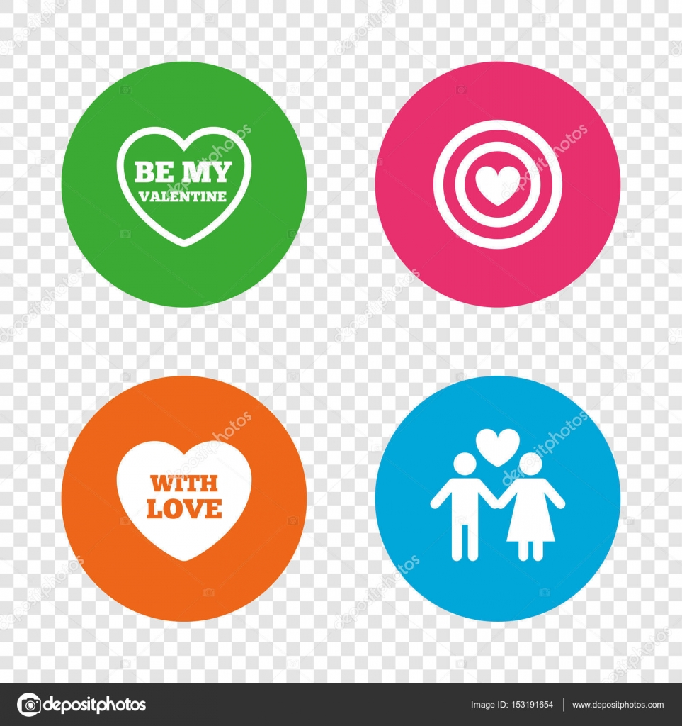Target Aim With Heart Symbol Couple Lovers Sign Round Buttons On Transparent Background Vector By Blankstock
