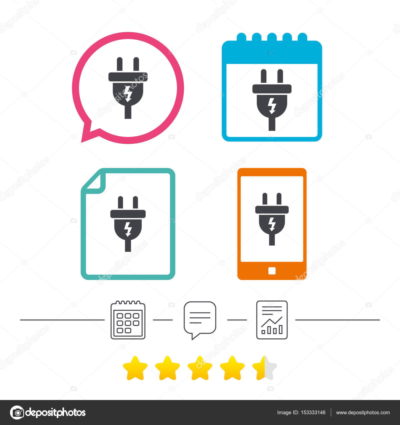 Elektrischer Stecker Zeichen Symbol — Stockvektor © Blankstock ...