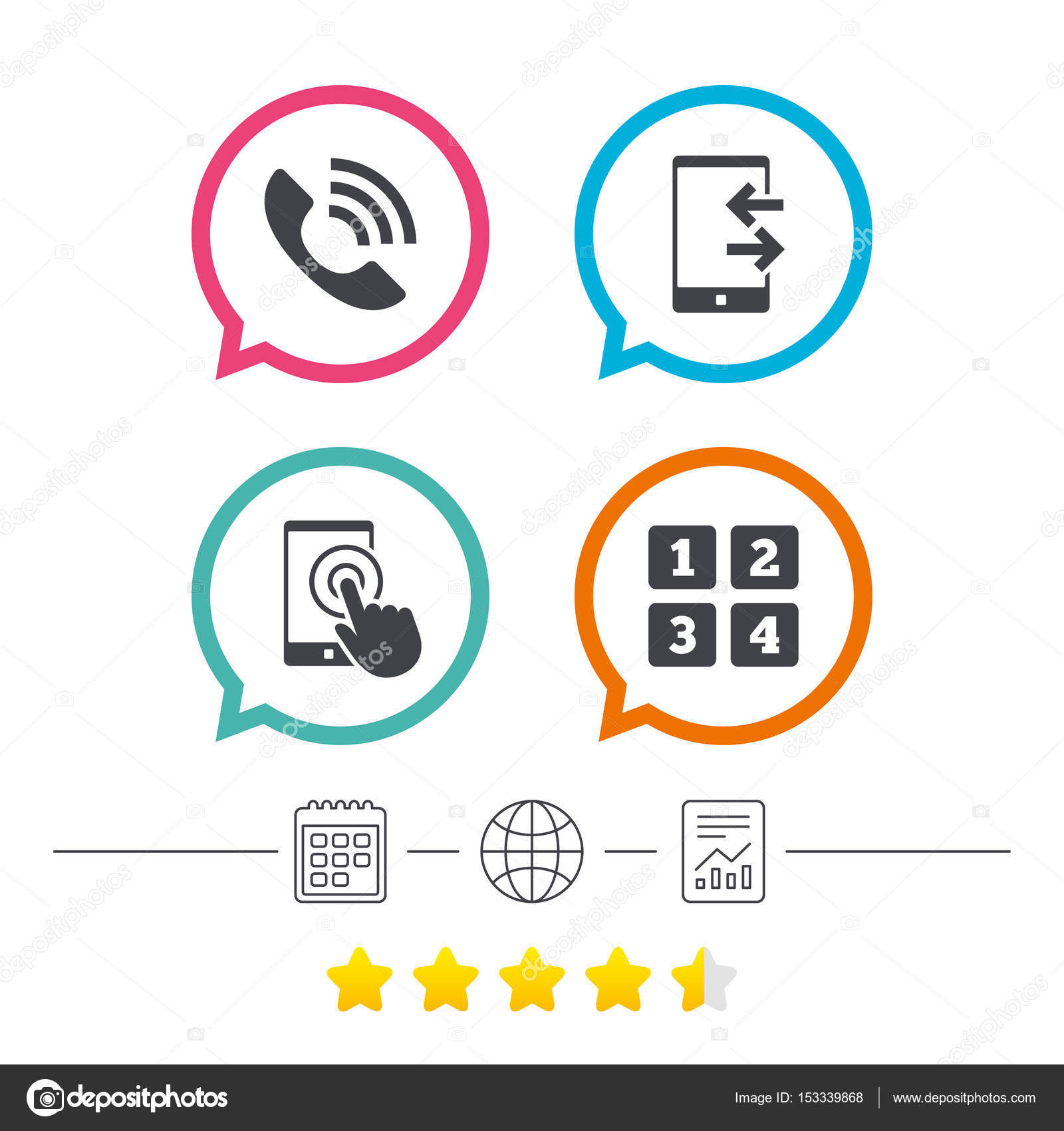 Call center support symbol stock vector blankstock 153339868 call center support symbol cellphone keyboard symbol incoming and outcoming calls calendar internet globe and report linear icons star vote ranking biocorpaavc