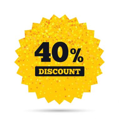 40 percent discount sign icon.