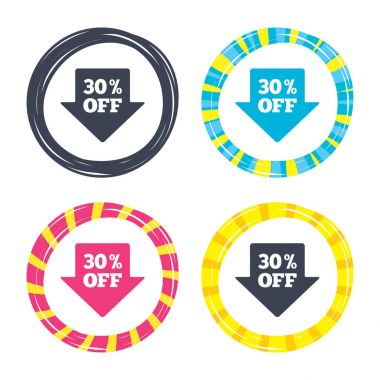 30 percent sale arrow tag sign icons.