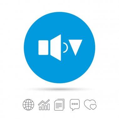 Speaker low volume sign icon