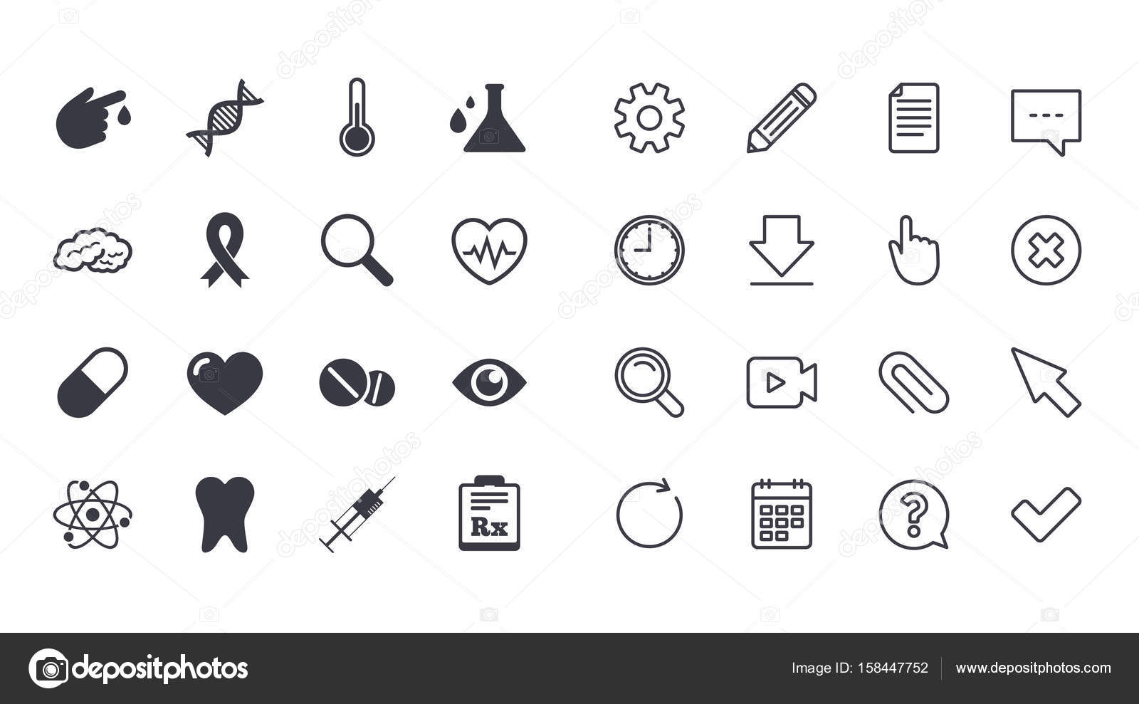 Set of healthcare medicine and diagnosis icons stock vector tooth pills and syringe signs brain blood test and thermometer symbols calendar document and download line signs pencil service and search icons biocorpaavc