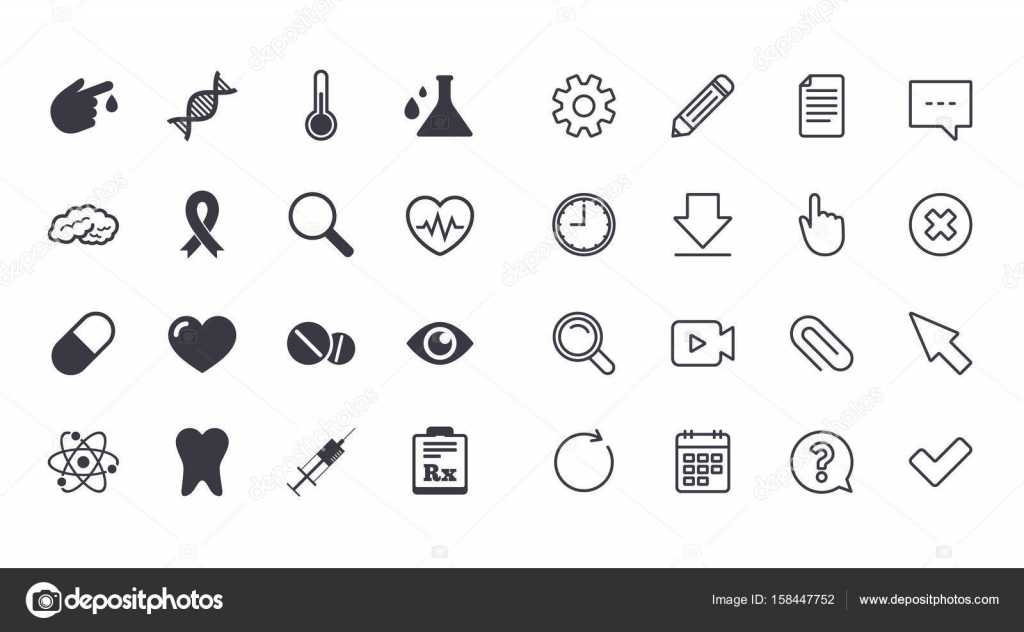 Set of healthcare medicine and diagnosis icons stock vector tooth pills and syringe signs brain blood test and thermometer symbols calendar document and download line signs pencil service and search icons biocorpaavc Gallery