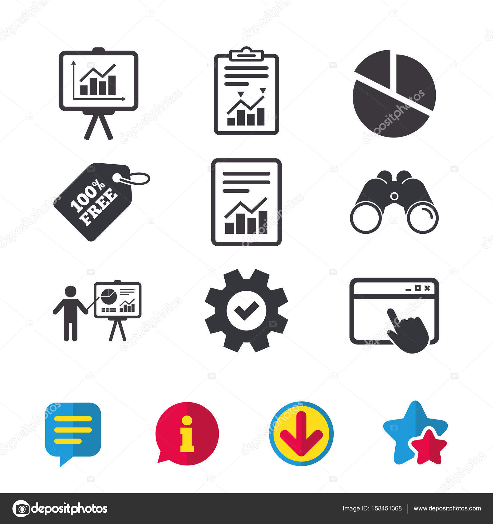 Diagram Graph Pie Chart Icons Stock Vector Blankstock 158451368