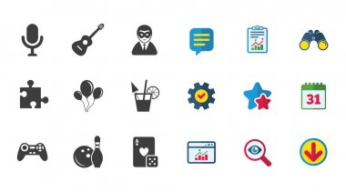 Game and puzzle icons.