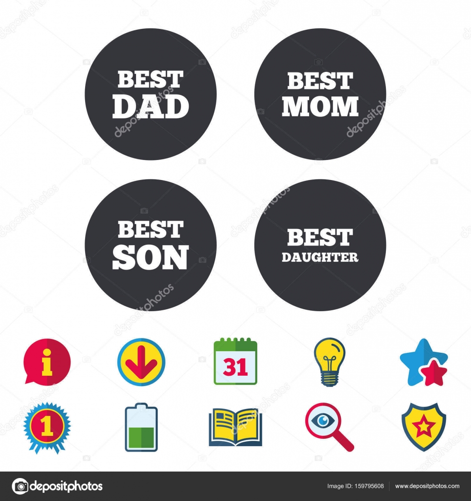 Best Mom And Dad Son And Daughter Icons Award Symbols Calendar