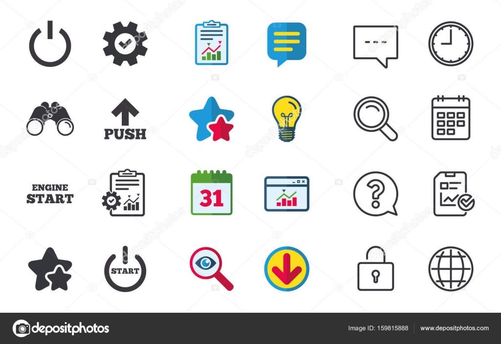 Symbole der macht. Start-Motor-symbol — Stockvektor © Blankstock ...