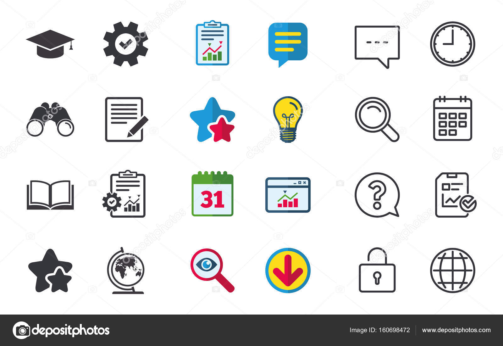 Chat Report And Calendar Signs Stock Vector Blankstock 160698472