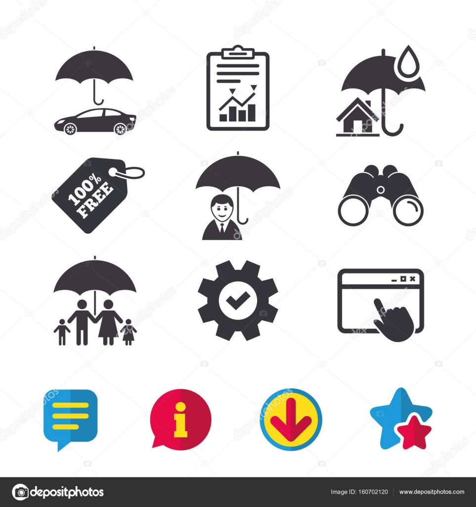 Real estate or Home insurance icons — Stock Vector