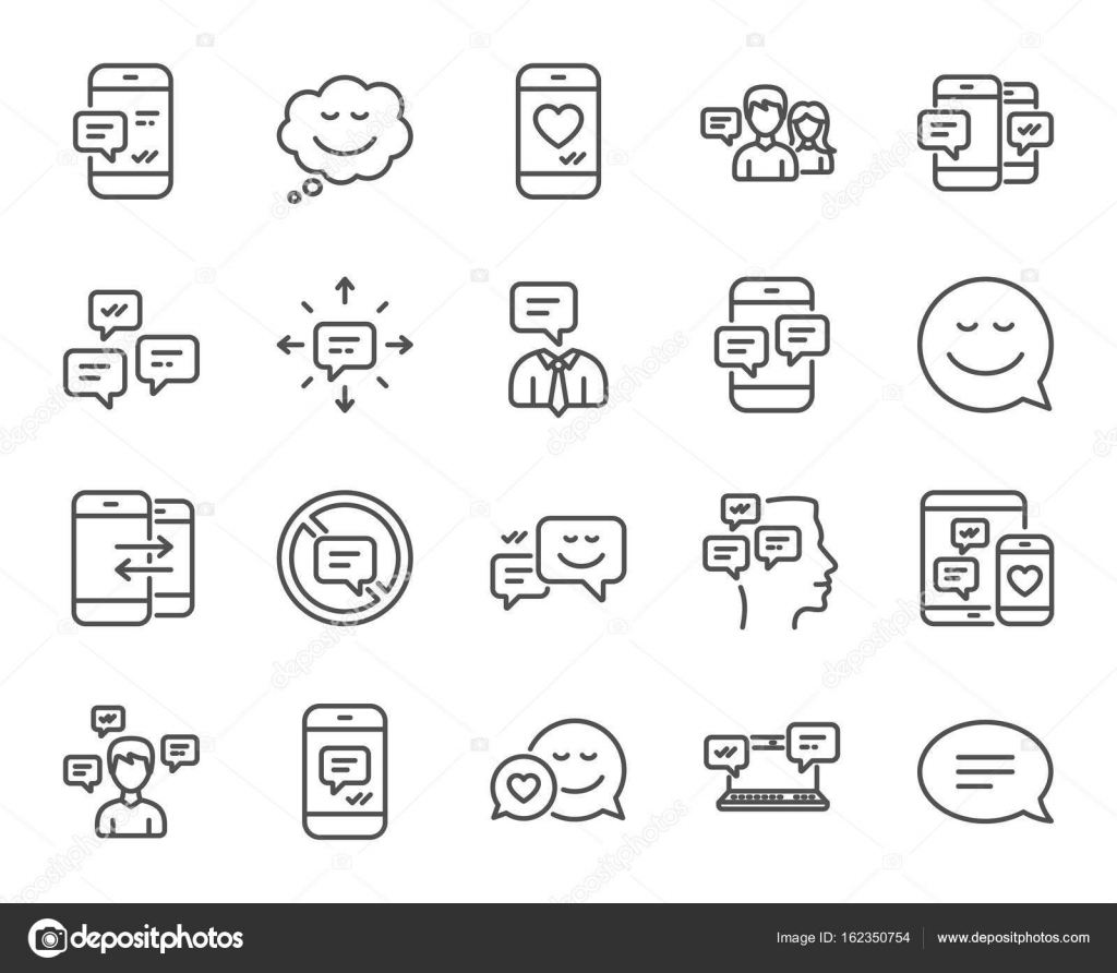 Message and communication icons stock vector blankstock 162350754 message and communication icons group chat conversation and speech bubbles signs sms phone alert and stop talking symbols quality design elements biocorpaavc Gallery