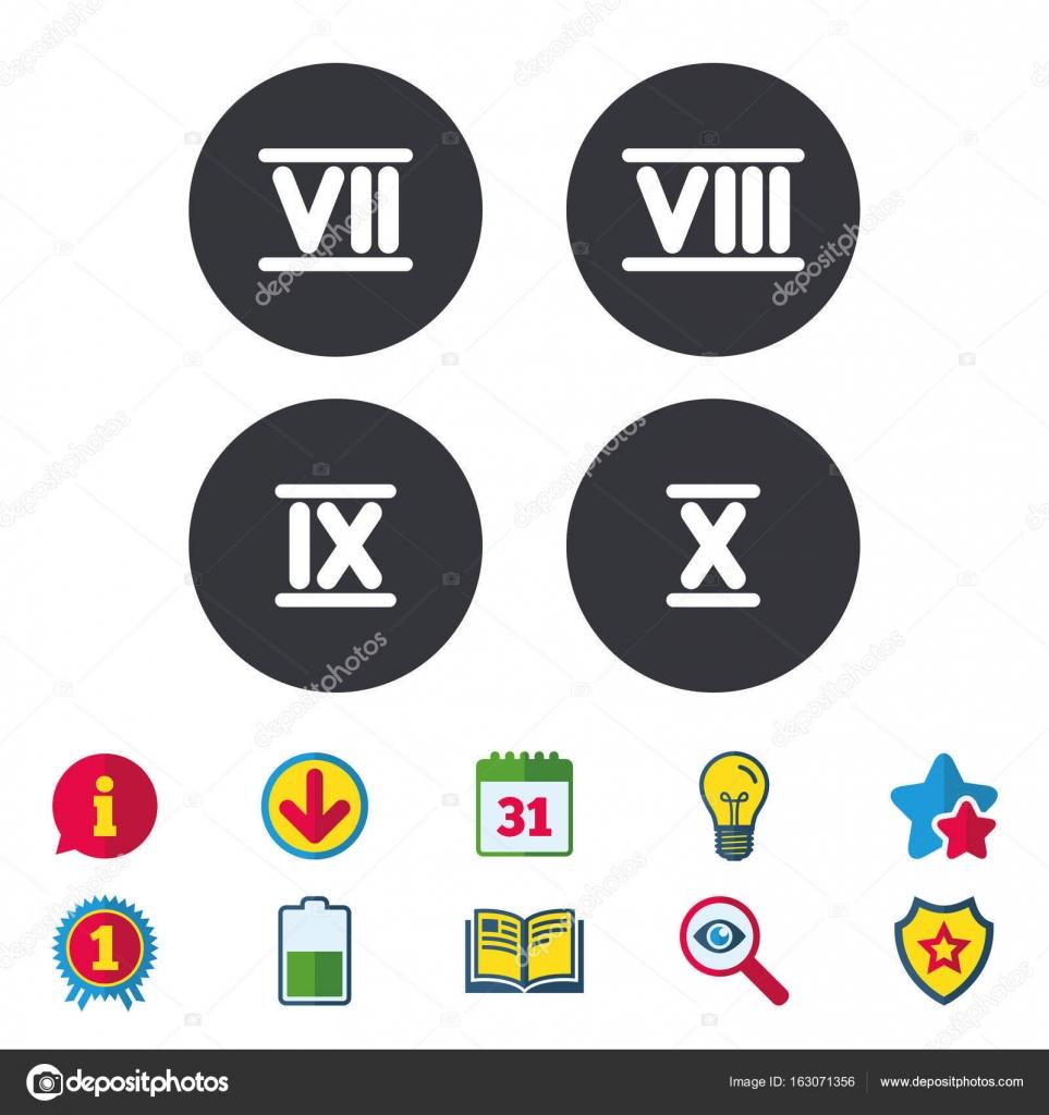 Iconos De Número Romano Número Siete Nueve Diez Archivo