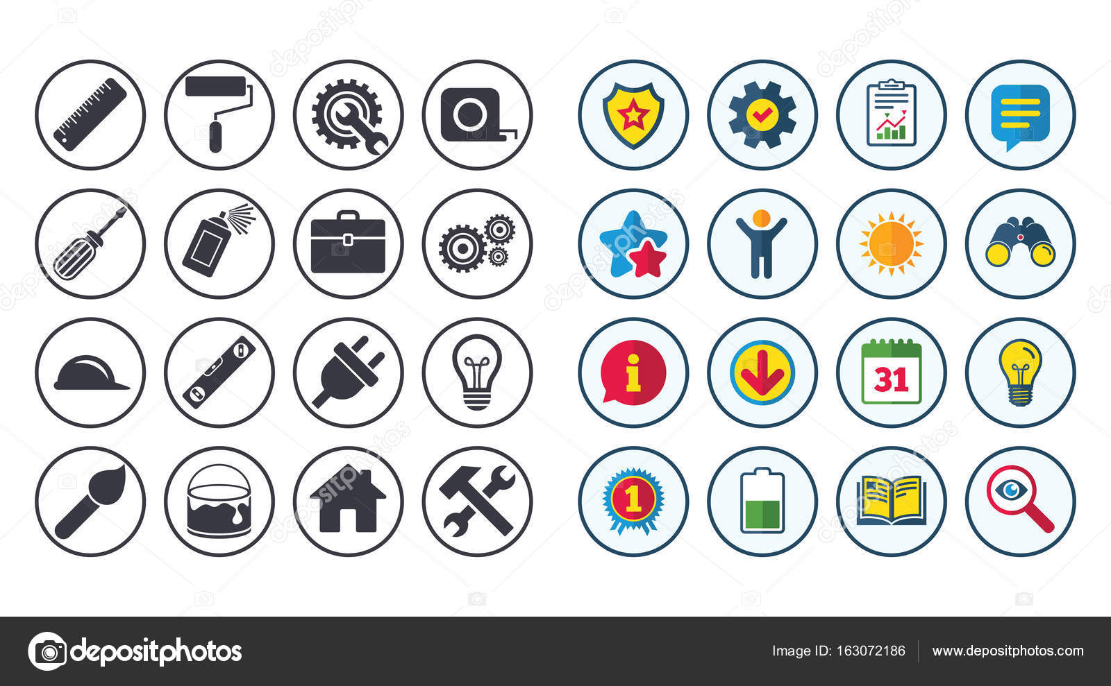 Set Of Construction Tools Engineering And Repair Stock Vector