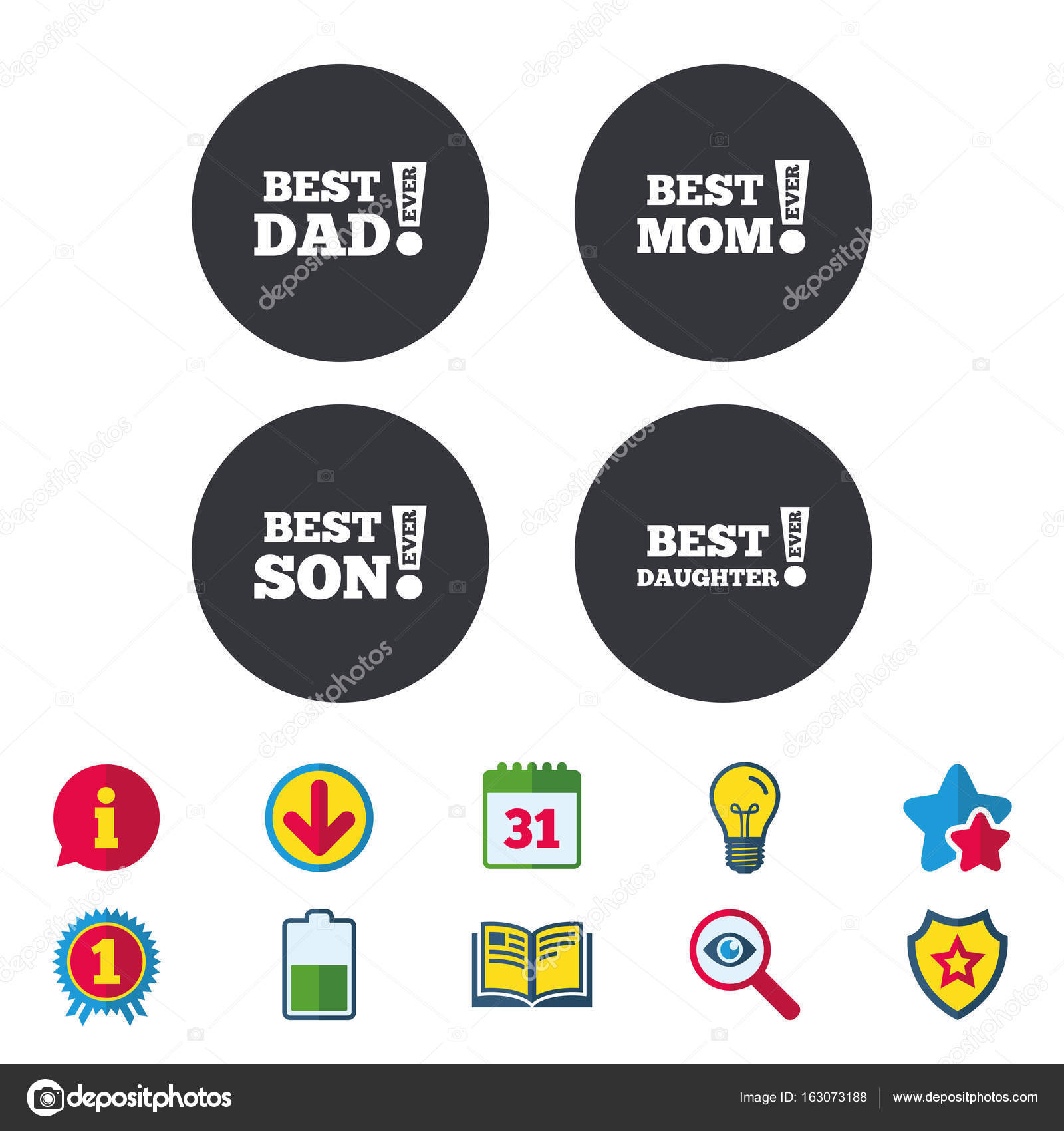 Best Mom And Dad Son Daughter Icons Stock Vector Blankstock