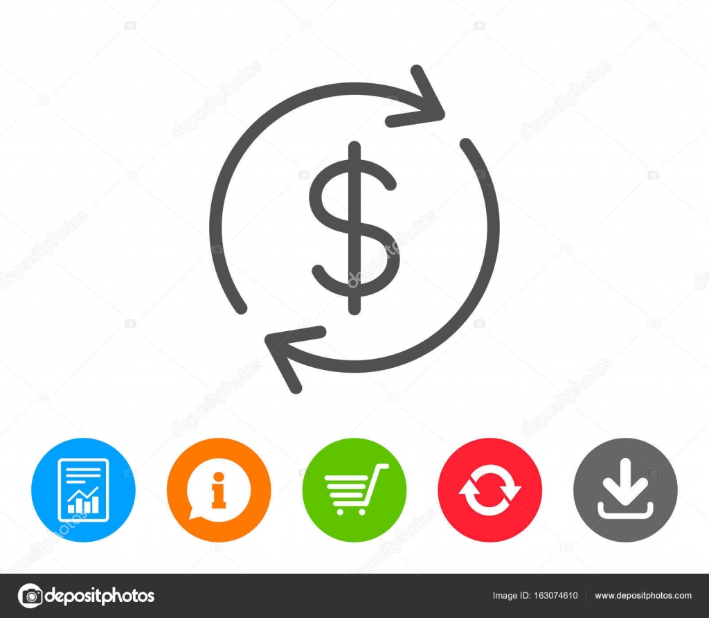 Currency exchange line icon money transfer stock vector currency exchange line icon money transfer sign dollar in rotation arrow symbol report information and refresh line signs shopping cart and download biocorpaavc Images