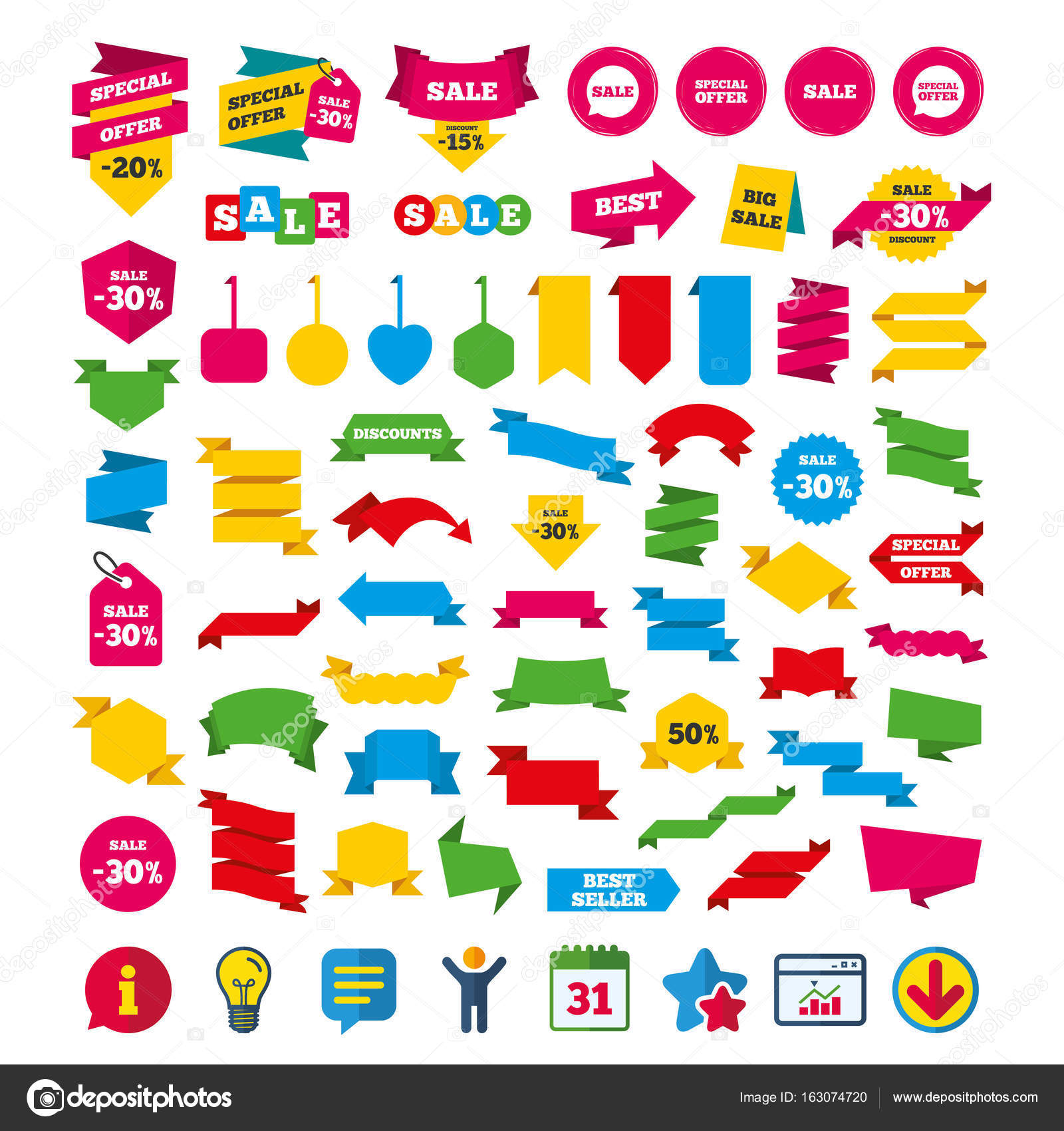 Sale icons special offer speech bubbles symbols stock vector special offer speech bubbles symbols shopping signs shopping tags banners and coupons signs calendar information and download icons biocorpaavc Choice Image