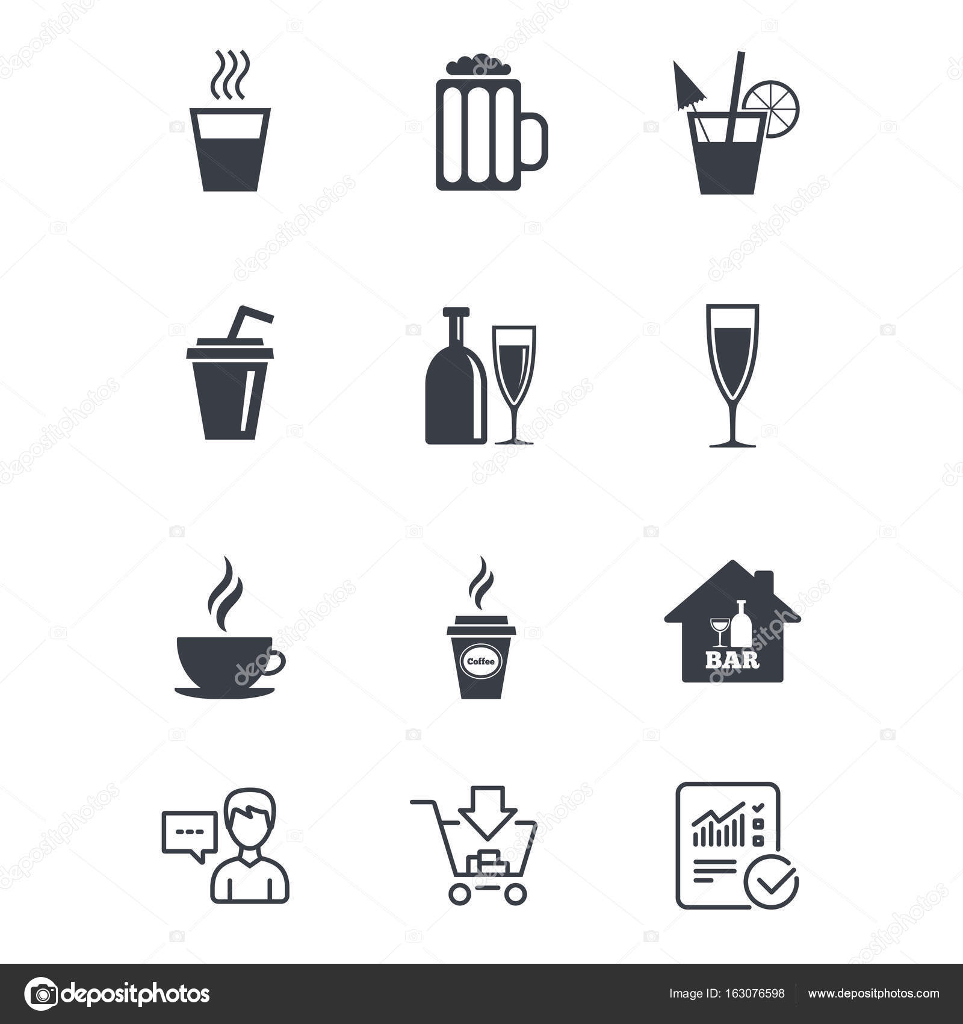 Cocktail, Bier-Symbole. Kaffee und Tee-Getränke — Stockvektor ...
