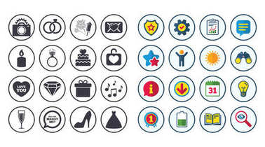Set of Wedding and Engagement icons.
