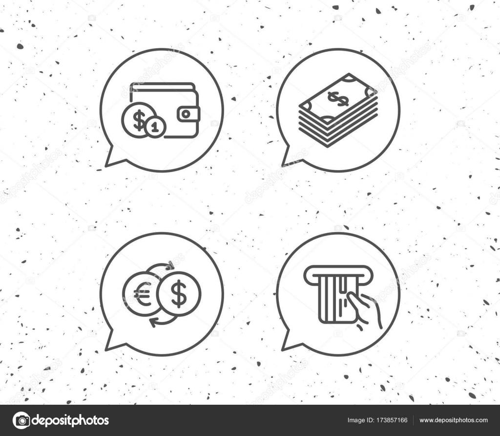Geld Bargeld Und Brieftasche Linie Symbole Münzen Stockvektor