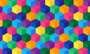 Vector abstract boxes background. Colored illustration with square mesh. Digital geometric abstraction with cubes. Vector Illustration.