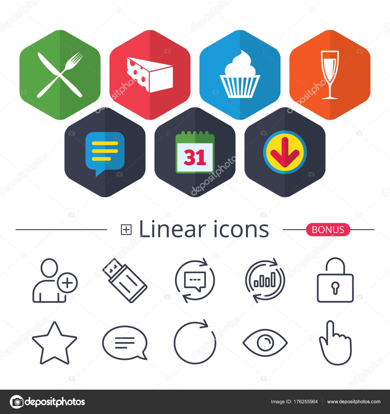Calendar Speech Bubble Download Signs Food Icons Muffin Cupcake