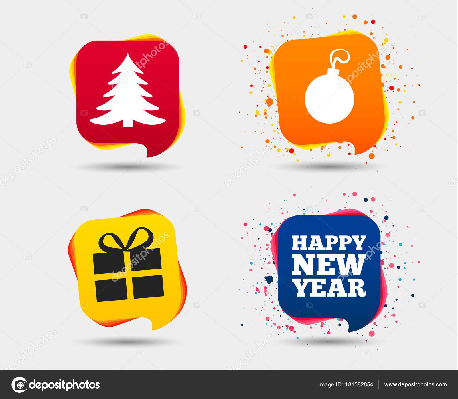 Happy New Year Icon Christmas Tree Gift Box Sign Symbols Stock