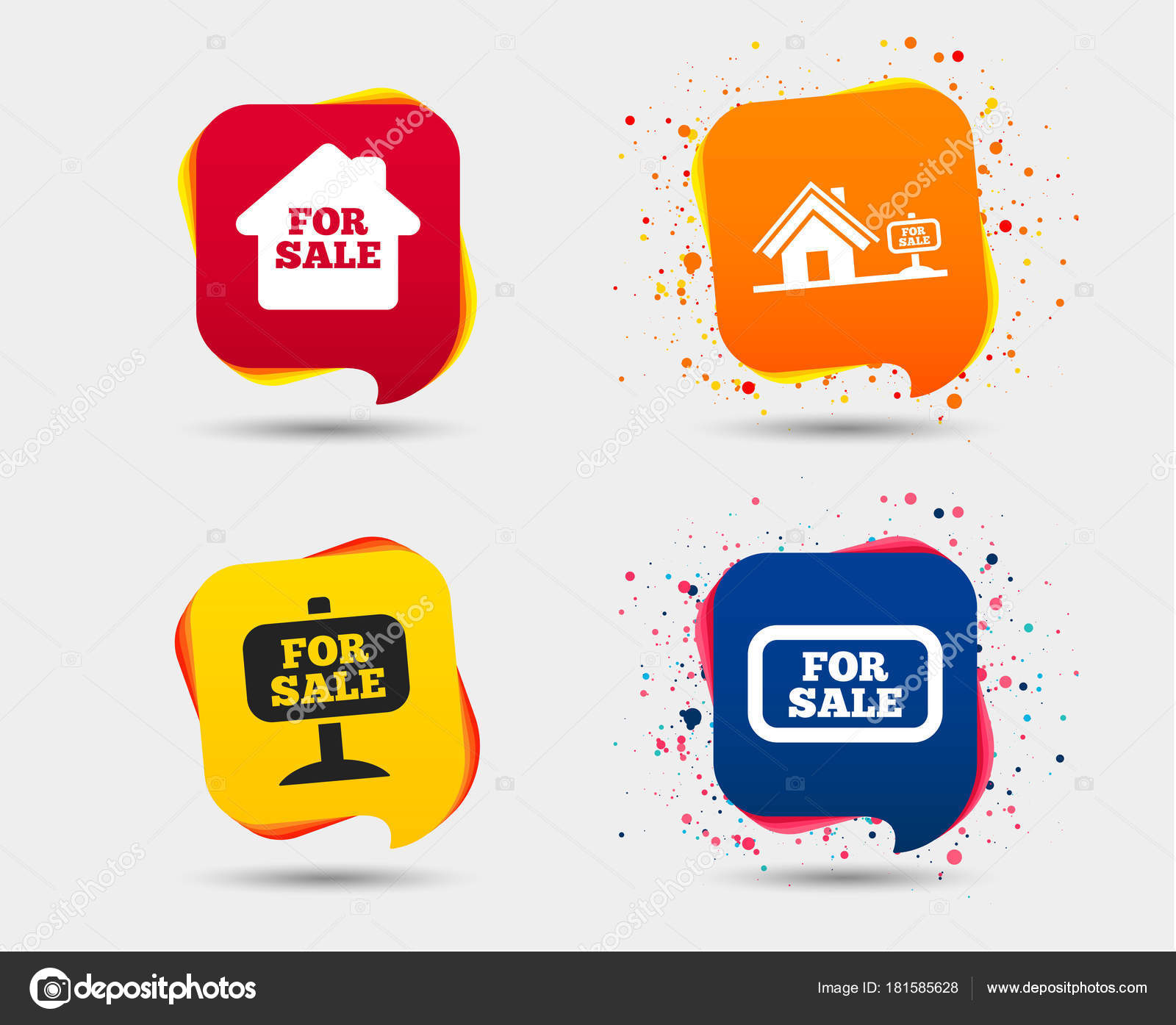 Sale Icons Real Estate Selling Signs Home House Symbol Speech