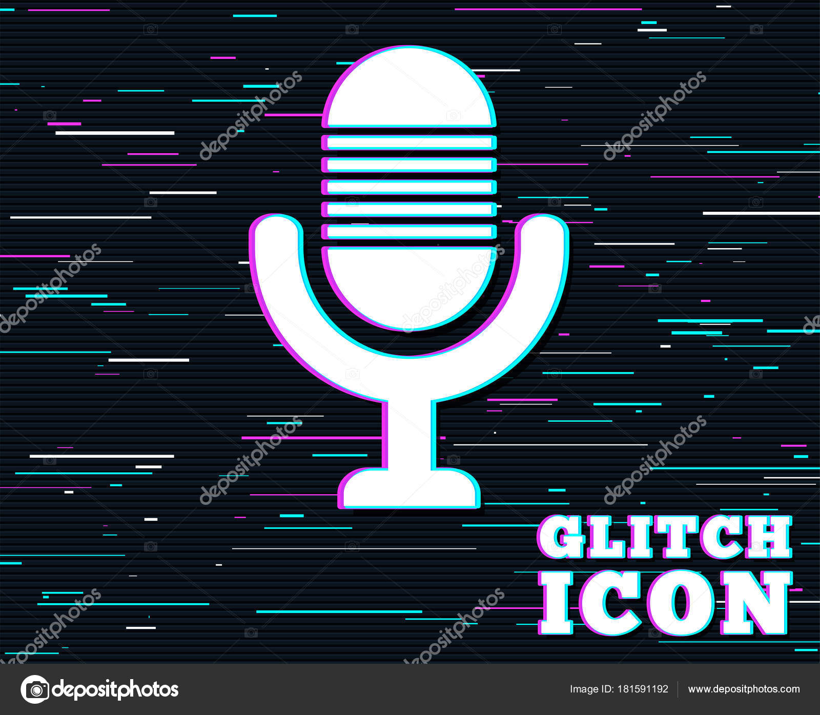 Glitch Effect Microphone Icon Speaker Symbol Live Music Sign