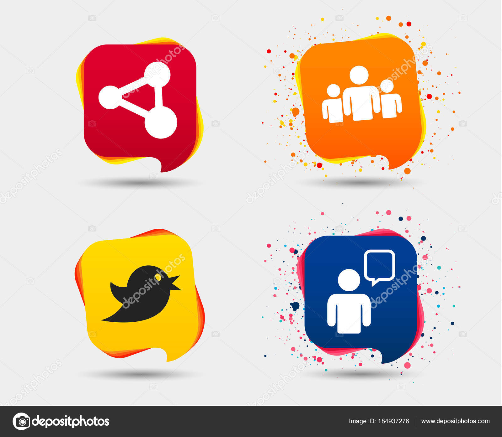 Set group people share icons speech bubble symbols communication set group people share icons speech bubble symbols communication signs stock vector biocorpaavc Gallery