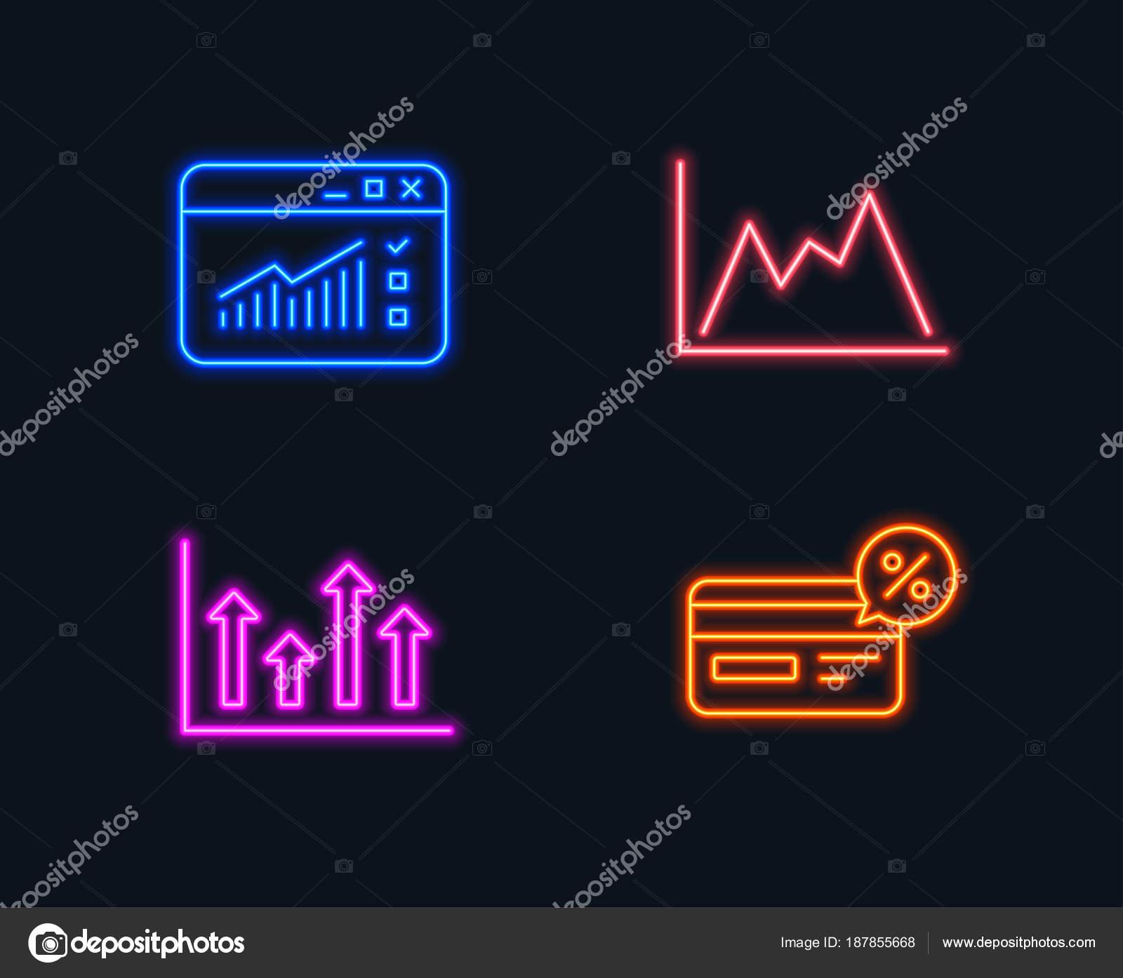 neon lights set upper arrows web traffic diagram icons cashback — stock  vector
