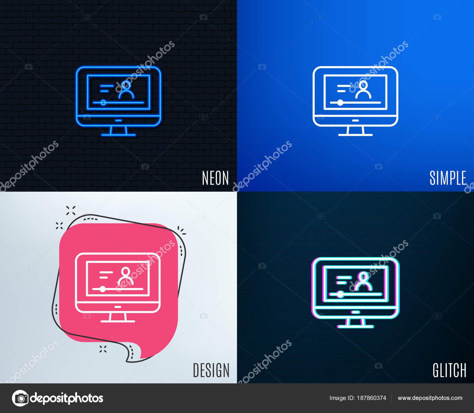 Glitch Neon Effect Online Video Education Line Icon Computer Online