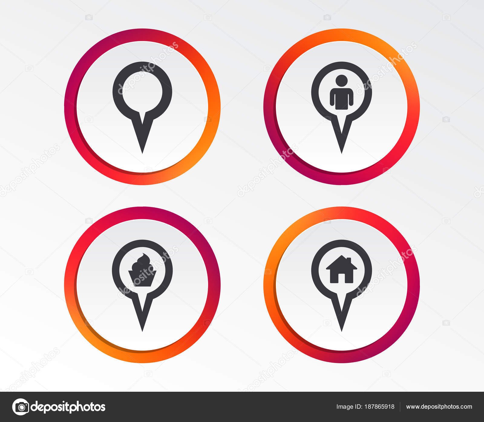 Map Circle Pointer Icons Home Food User Location Symbols Restaurant