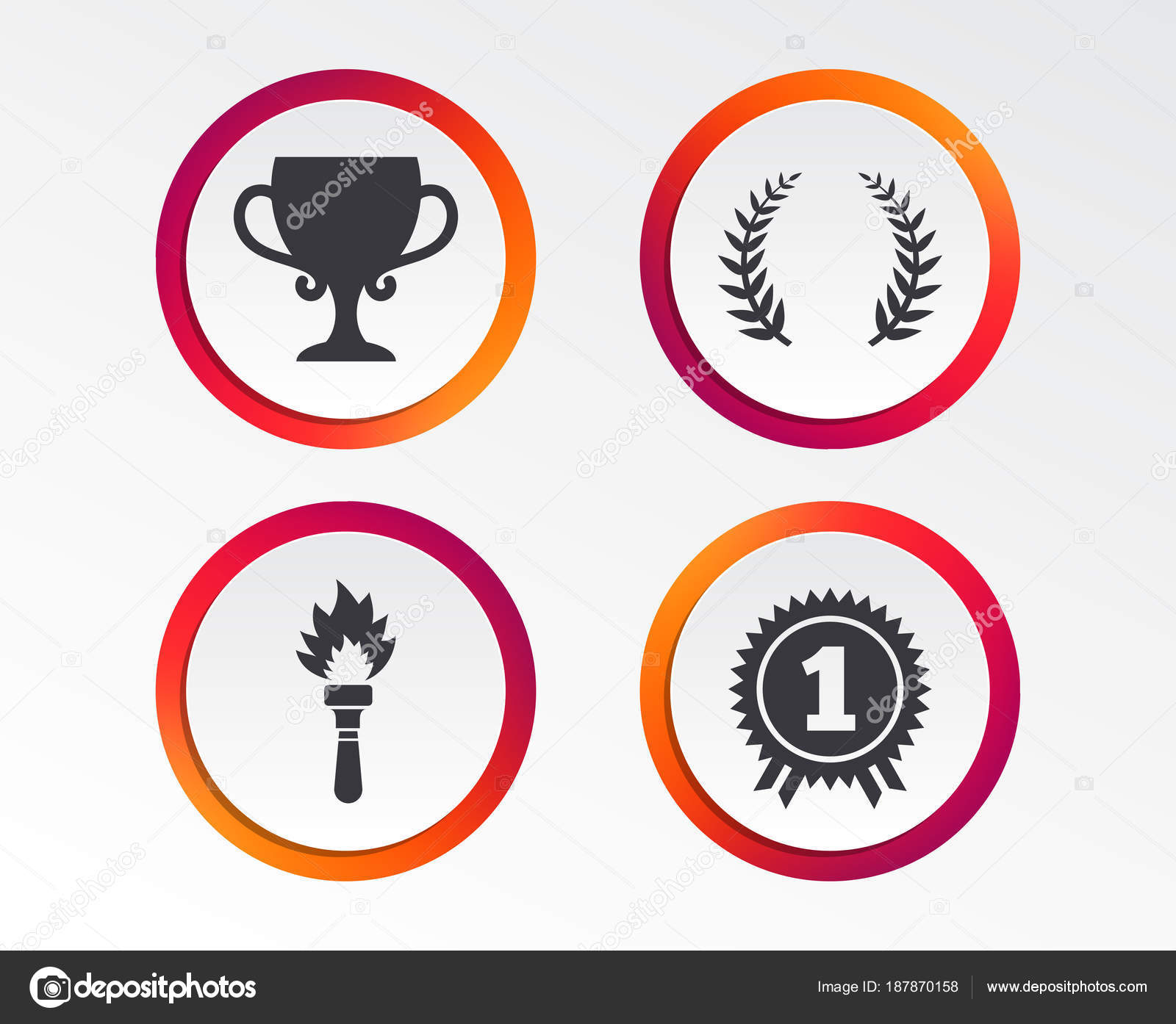 First Place Award Cup Icons. Laurel Wreath Sign. Torch Fire Flame Symbol.  Prize For Winner. Infographic Design Buttons. Circle Templates.