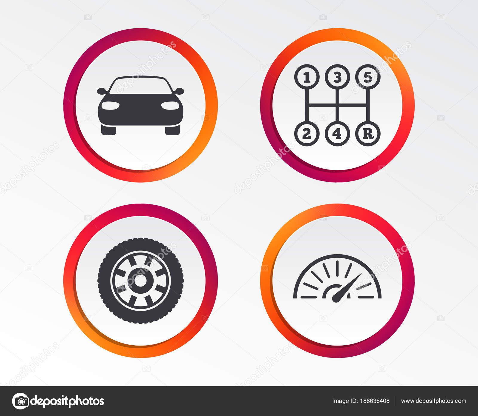 Transport Icons Car Tachometer Mechanic Transmission Symbols Wheel