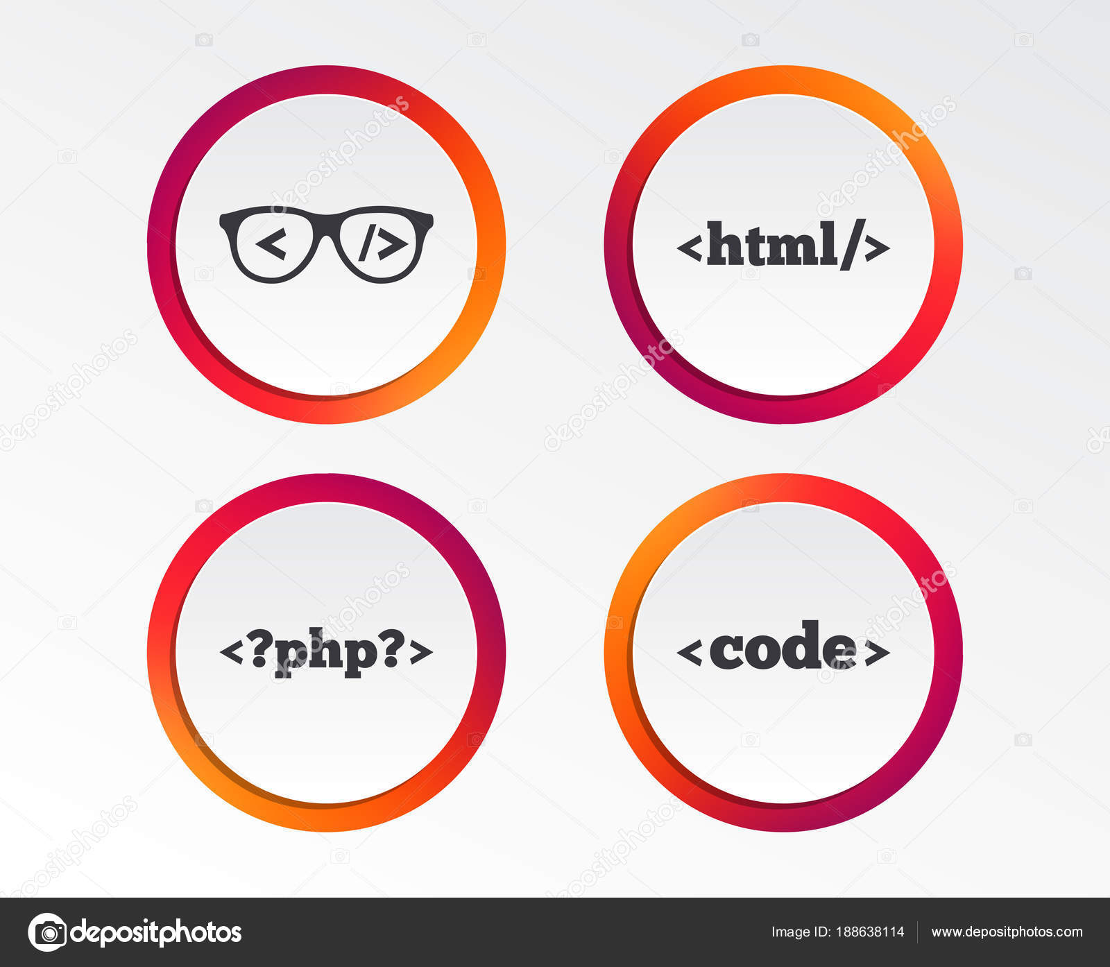 Programmer Coder Glasses Icon Html Markup Language Php Programming