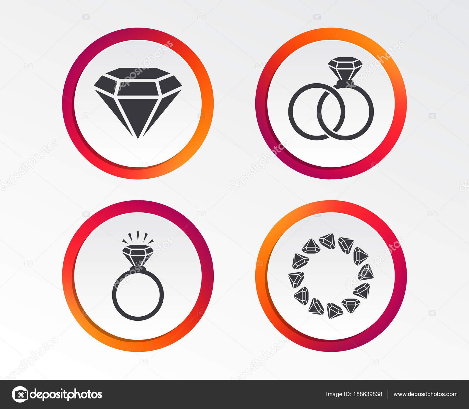 Ringe Ikonen Schmuck Mit Glanz Diamant Zeichen Hochzeit Oder