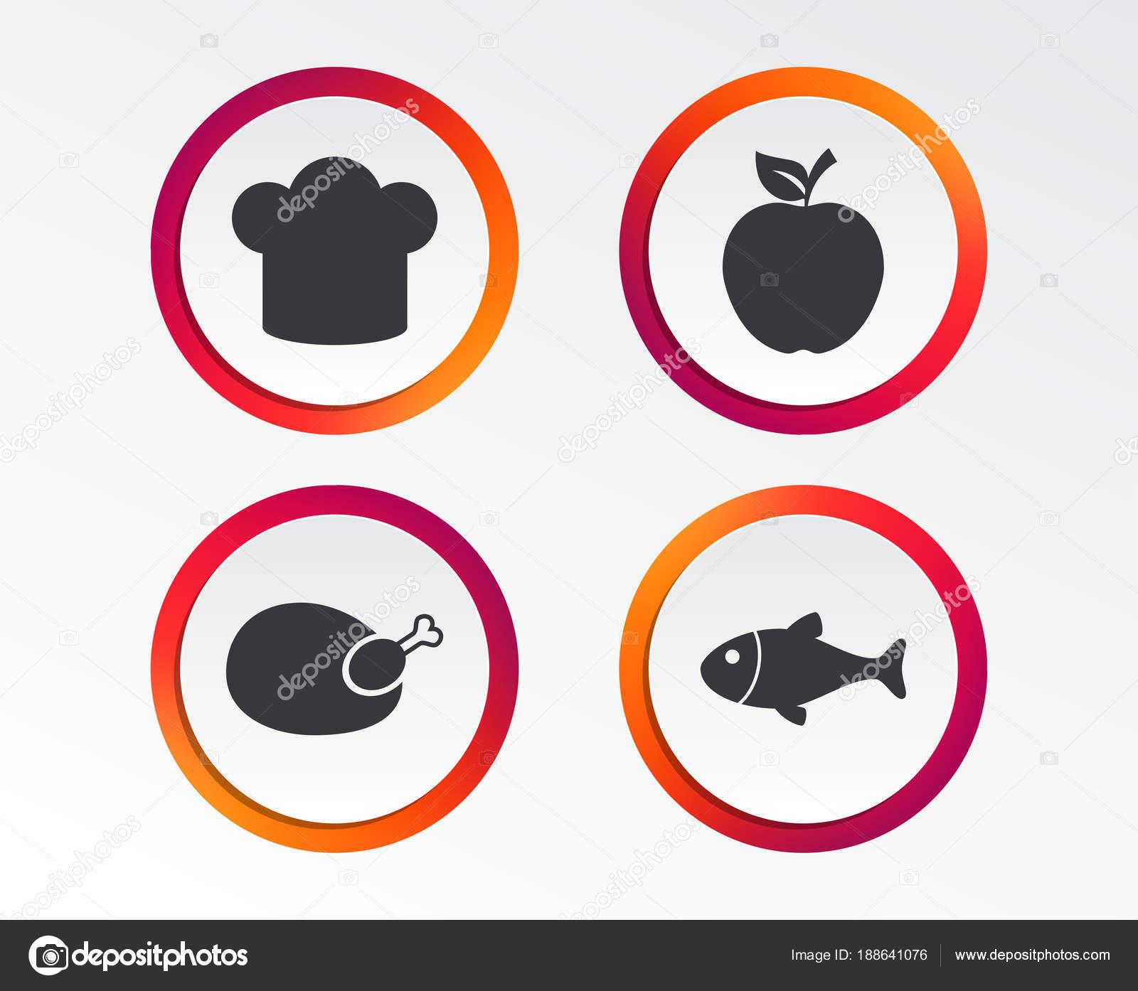 Food Icons Apple Fruit Leaf Symbol Chicken Hen Bird Meat Stock