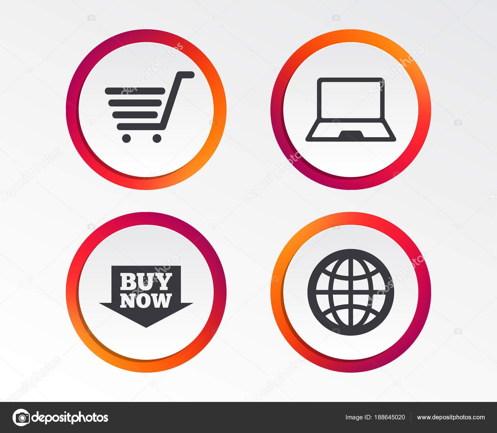 4b1ae1cc0dcb08 Icone di acquisto online. Pc notebook, carrello, Acquista ora segni freccia e  internet. Simbolo del globo www. Pulsanti di progettazione infografica.