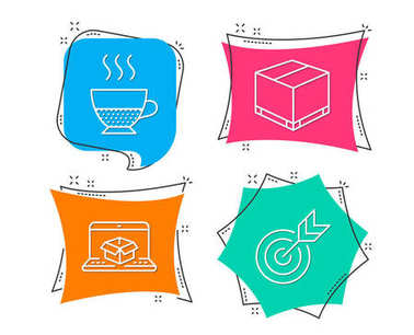 Set of Online delivery, Doppio and Delivery box icons. Target sign. Parcel tracking website, Coffee drink, Cargo package. Targeting.  Flat geometric colored tags.