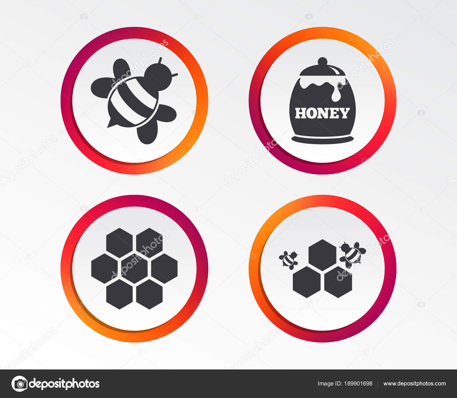 honey icon honeycomb cells bees symbol sweet natural food signs