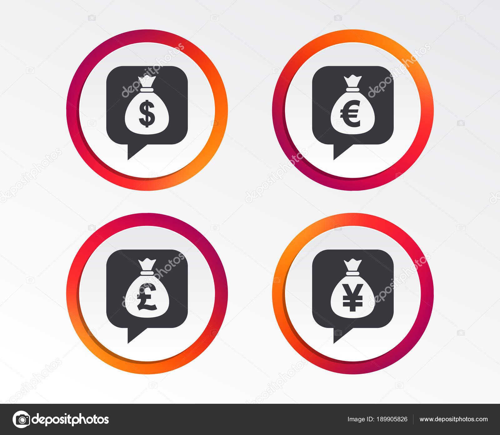 Money Bag Icons Dollar Euro Pound Yen Speech Bubbles Symbols Stock