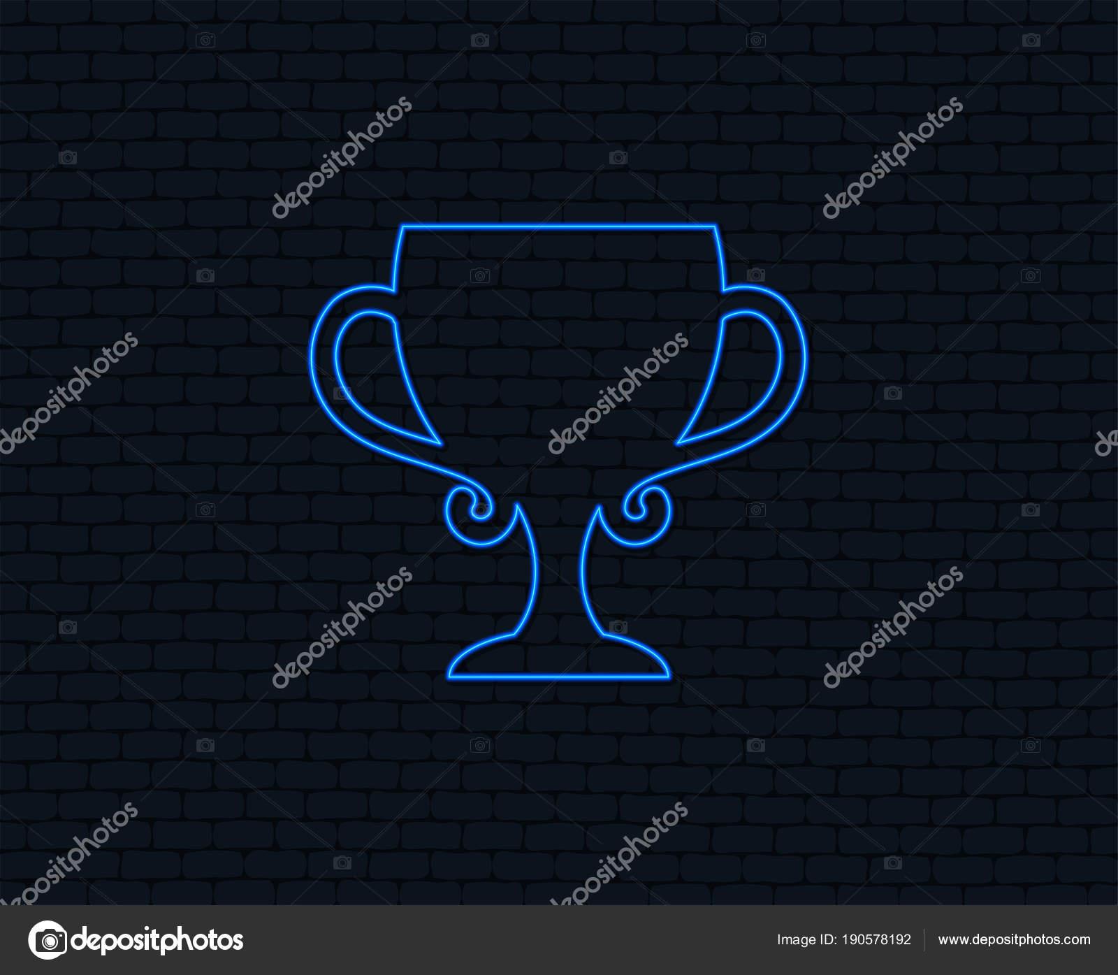 Neon Light Winner Cup Sign Icon Awarding Winners Symbol Trophy