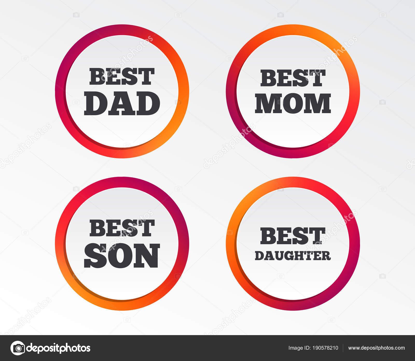 Best Mom Dad Son Daughter Icons Award Symbols Infographic Design