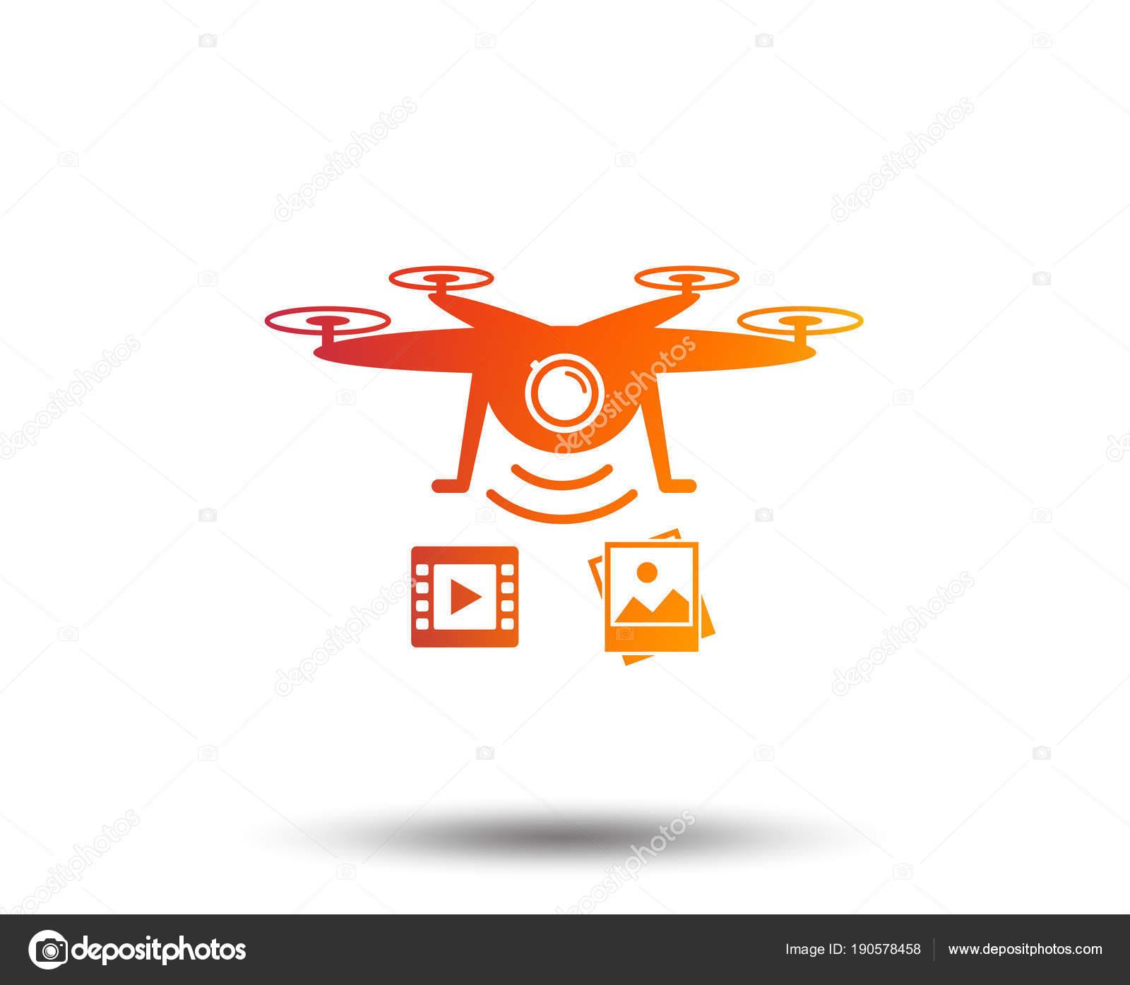 Drone Icon Quadrocopter Video Photo Camera Symbol Blurred Gradient Design Stock Vector