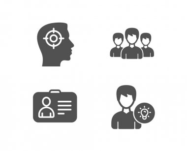 Set of Recruitment, Id card and Group icons. Person idea sign. Headhunter aim, Human document, Group of people. Lamp energy.  Quality design elements. Classic style. Vector