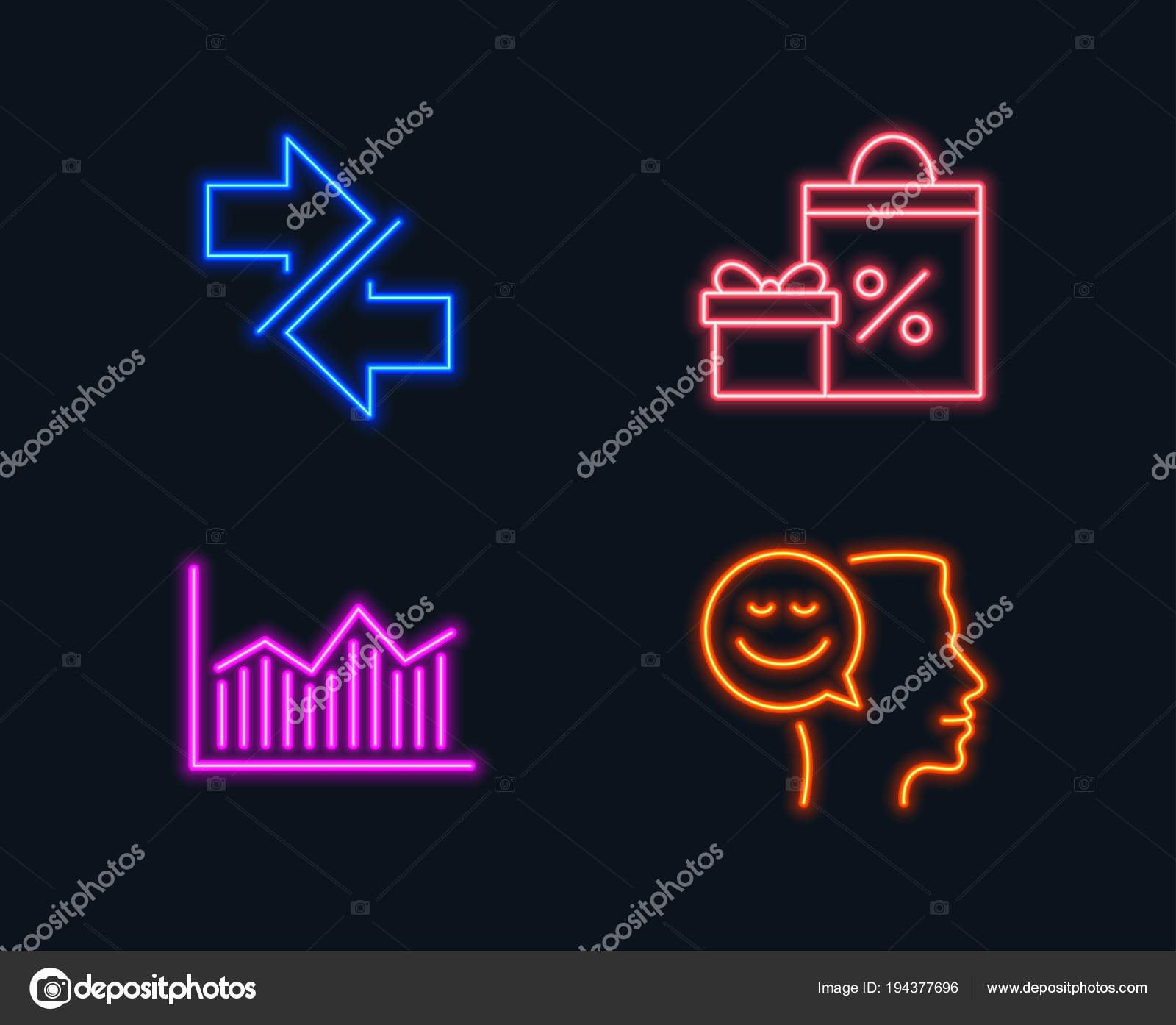 neon lights set shopping synchronize money diagram icons good mood — stock  vector