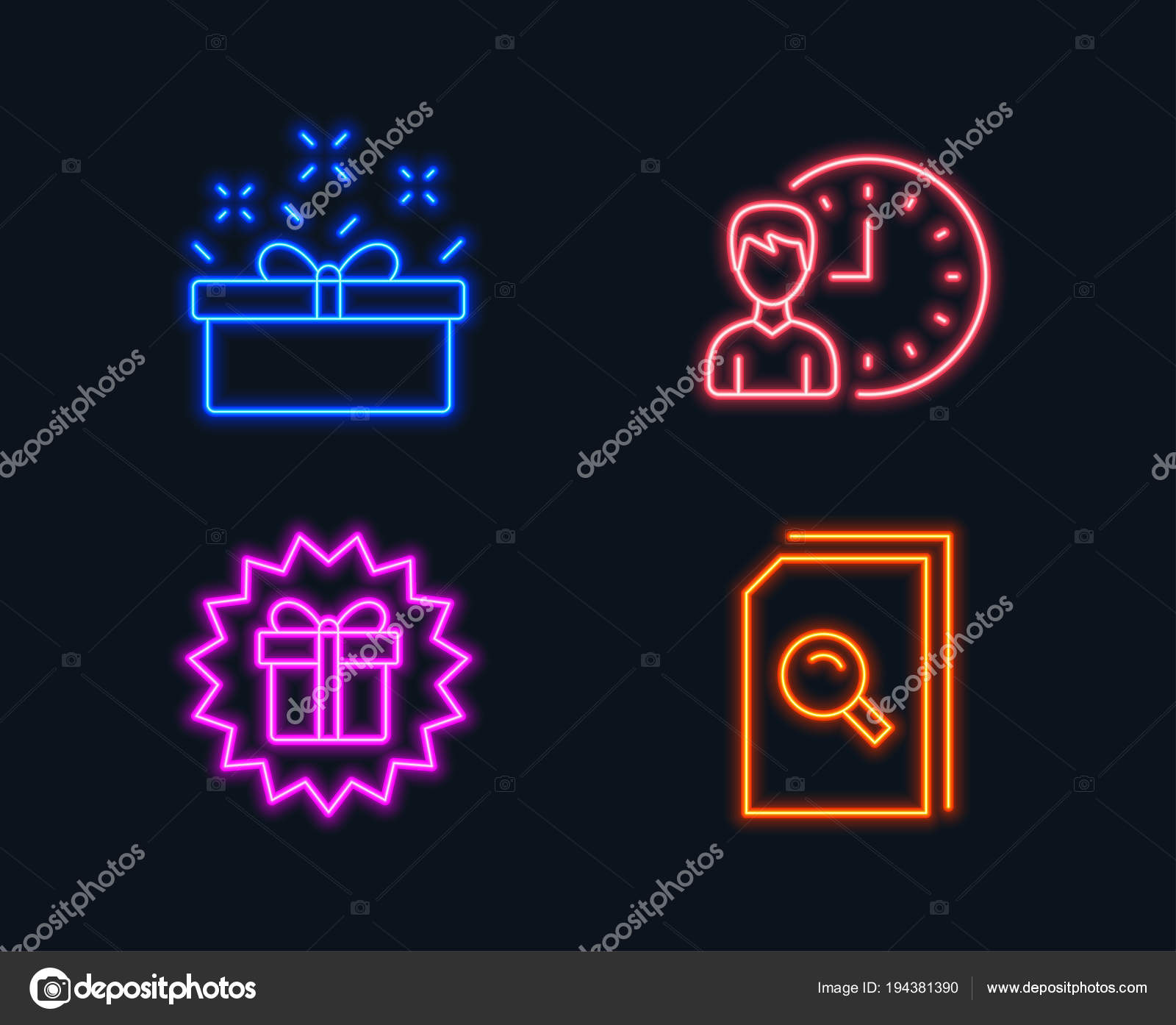 Neon Lights Set Present Box Working Hours Surprise Gift Icons